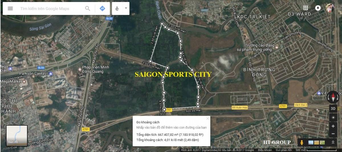 Hai phân khu I và II dự án Saigon Sports City qua vệ tinh