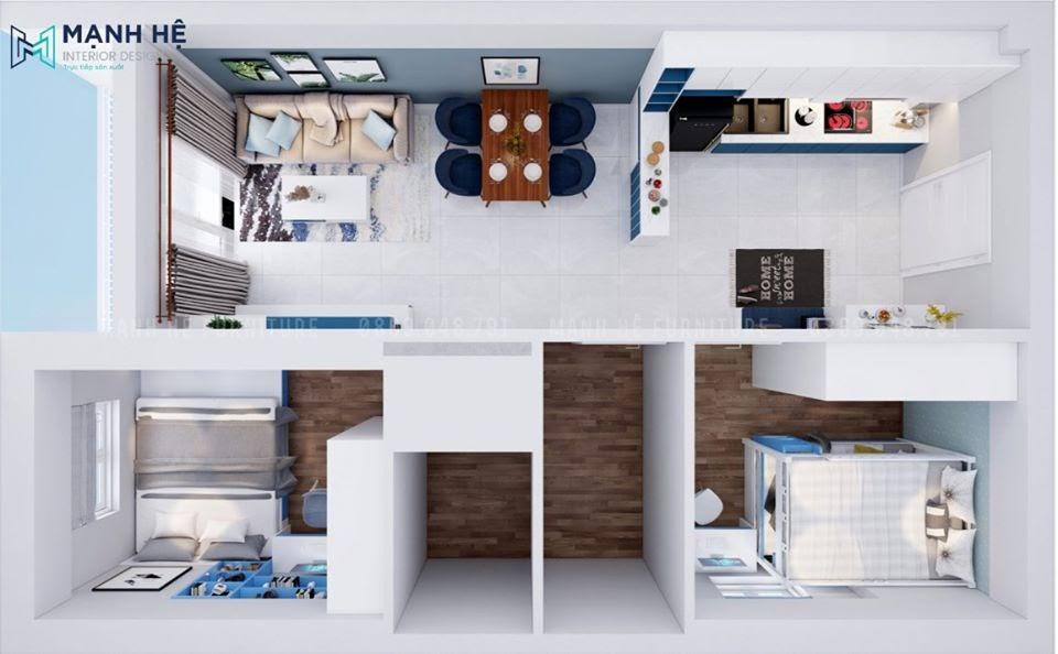 Mỗi căn phòng được bố trí nội thất đảm bảo công năng sử dụng